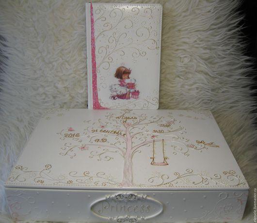 """Подарки для новорожденных, ручной работы. Ярмарка Мастеров - ручная работа. Купить Комплект: мамина сокровищница """"Моя принцесса"""" и ежедневник. Handmade."""
