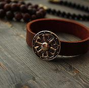 Украшения handmade. Livemaster - original item Leather bracelet with shield on the clasp ,bracelet leather ,bracelet Viking. Handmade.