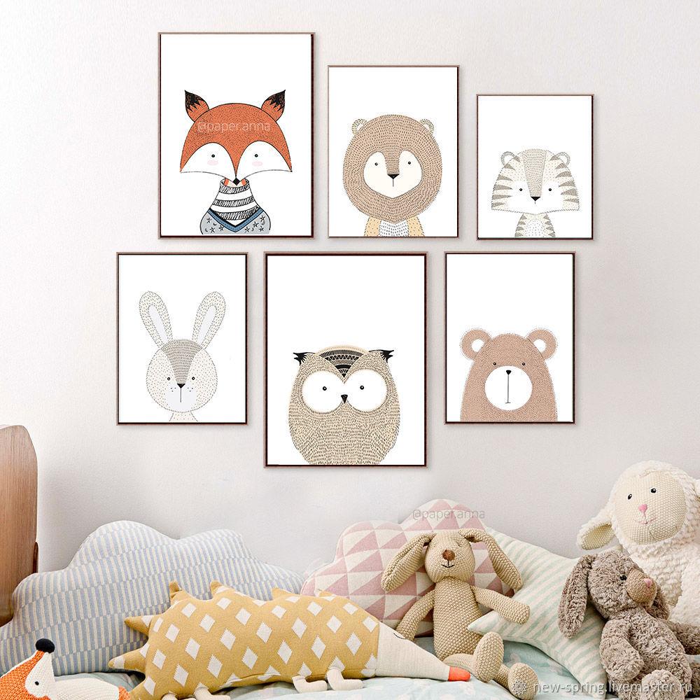 Постеры в скандинавском стиле для детской комнаты с животными, Фотокартины, Керчь,  Фото №1