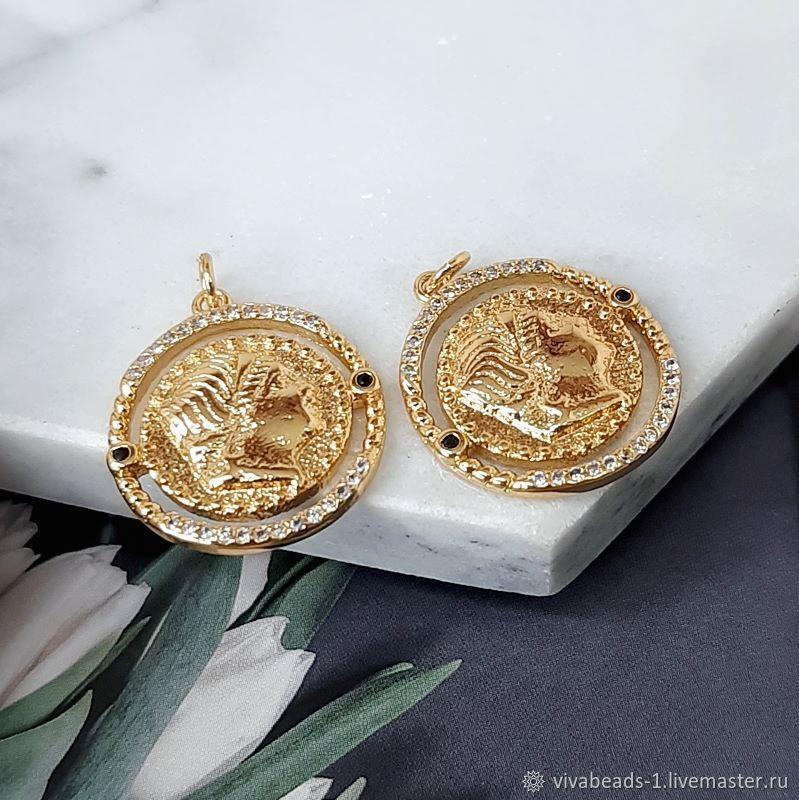Pendant Medallion 20x18x2.5. 4710 mm with zircons gilt (), Beads1, Voronezh,  Фото №1