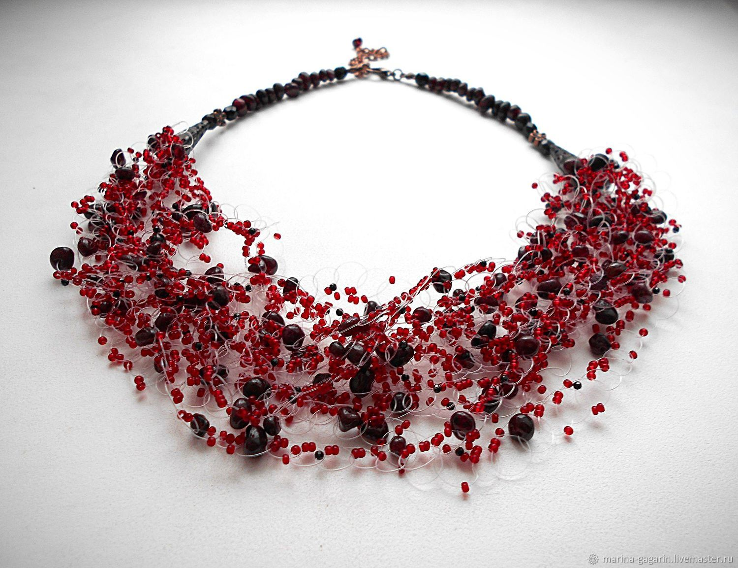 air splash blac item pomegranate mixed necklace black beads garnet bordeaux wine technique