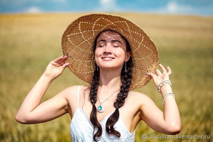 """Летняя соломенная шляпа с полями """"Happy hat"""", Шляпы, Москва,  Фото №1"""