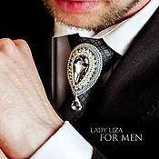 Свадебный салон handmade. Livemaster - original item Ferkhat tie brooch. Swarovski crystal Graphite. for men. Handmade.