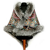 Аксессуары handmade. Livemaster - original item Shawl with fur