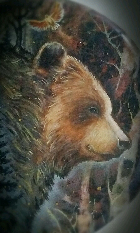 ХРАНИТЕЛЬ ВОЛШЕБНОГО ЛЕСА (миниатюрная живопись, медведь), Подвески, Геленджик, Фото №1