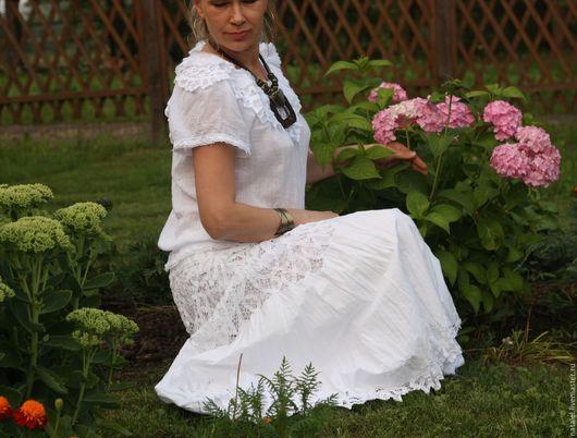 """Юбки ручной работы. Ярмарка Мастеров - ручная работа. Купить Юбка """"Lace dreams"""", белая, с кружевом ручной работы.. Handmade."""