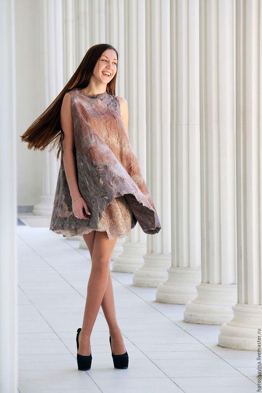 """Платья ручной работы. Ярмарка Мастеров - ручная работа. Купить """"Лео """" нуно-войлочное платье. Handmade. Разноцветный"""