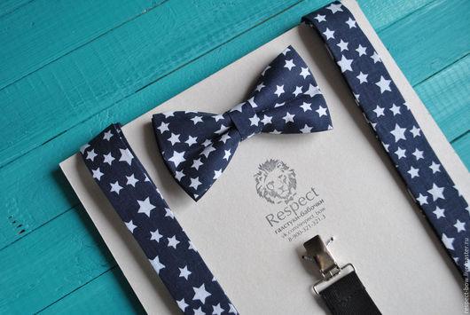 Комплекты аксессуаров ручной работы. Ярмарка Мастеров - ручная работа. Купить Темно-синяя галстук бабочка со звездами + Подтяжки темно-синие Звезды. Handmade.
