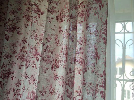 """Текстиль, ковры ручной работы. Ярмарка Мастеров - ручная работа. Купить Шторы льняные """"Шиповник"""". Handmade. Белый, шторы для гостиной"""