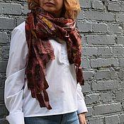 Палантины ручной работы. Ярмарка Мастеров - ручная работа Шоколадный  шарф палантин выполнен натуральном шелке ручная работа. Handmade.