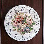 """Для дома и интерьера ручной работы. Ярмарка Мастеров - ручная работа Часы настенные """"Цветы"""", часы настенные декупаж. Handmade."""
