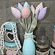 Куклы Тильды ручной работы. Ярмарка Мастеров - ручная работа. Купить Текстильные тюльпаны тильда. Handmade. Голубой, цветы тильда