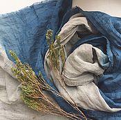Аксессуары handmade. Livemaster - original item Linen streaked grey-blue stole, a hand painted Indigo. Handmade.