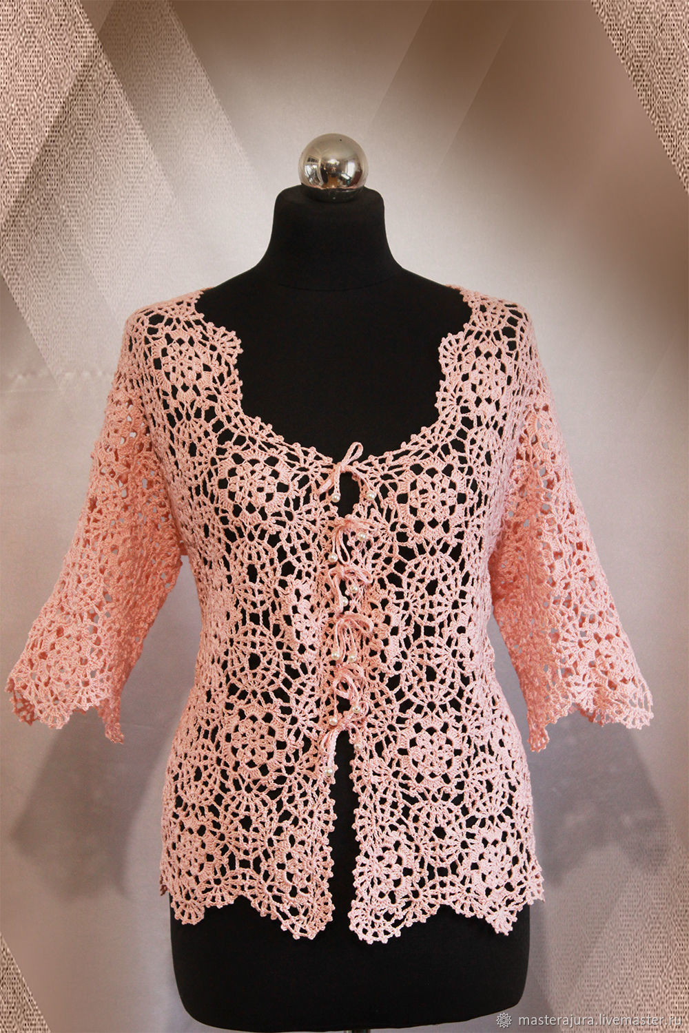 Suit Jackets & Blazers handmade. Livemaster - handmade. Buy Knitted cardigan women's crochet Pink pearl.Gift