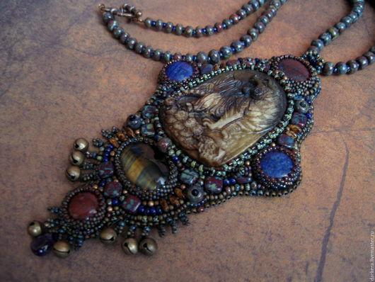 Кулоны, подвески ручной работы. Ярмарка Мастеров - ручная работа. Купить Кулон вышивка бисером REIKJOU резьба по камню, лазурит, яшма, аметист. Handmade.