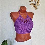 Одежда handmade. Livemaster - original item Crop top crochet summer top with fringe cotton bamboo soft. Handmade.