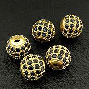 Материалы для творчества handmade. Livemaster - original item Bead with zircon 8h7 mm color gold (Ref. 3057). Handmade.