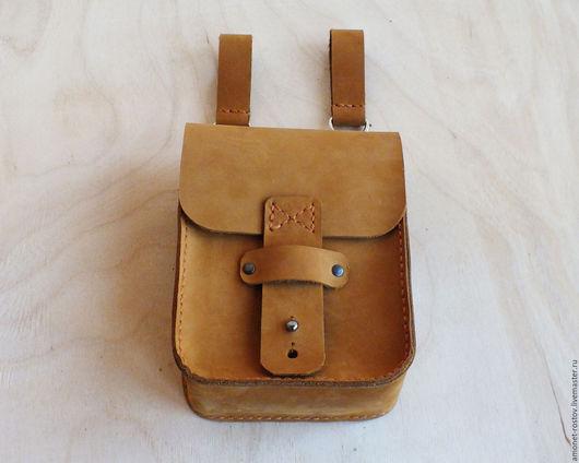 Мужские сумки ручной работы. Ярмарка Мастеров - ручная работа. Купить Сумка поясная. Песочно-рыжая. Handmade. Рыжий
