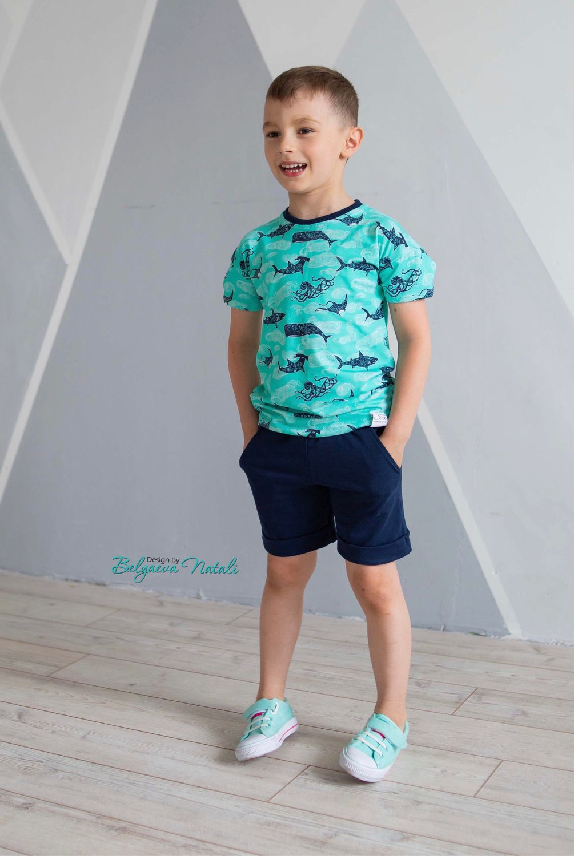 Одежда для мальчиков, ручной работы. Ярмарка Мастеров - ручная работа. Купить Комплект для мальчика «Киты». Handmade. Летняя одежда