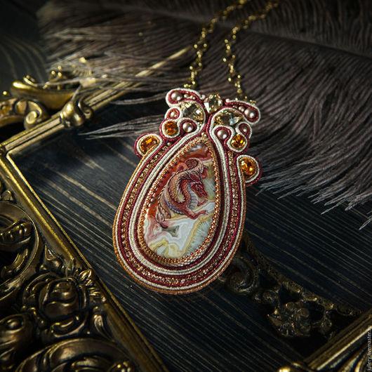 """Кулоны, подвески ручной работы. Ярмарка Мастеров - ручная работа. Купить Кулон """"Красный дракон"""". Handmade. Бордовый, дракон, подвеска"""