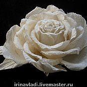 Украшения handmade. Livemaster - original item Silk flowers.Brooch hairpin WHITE ROSE REVERY. Indian silk Dupion.. Handmade.