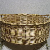 Для дома и интерьера handmade. Livemaster - original item Round basket with handles of willow vines. Handmade.