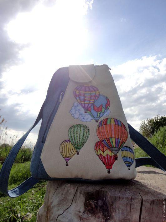 Рюкзаки ручной работы. Ярмарка Мастеров - ручная работа. Купить Рюкзак Мой воздушный шар. Handmade. Синий, рюкзак городской