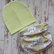 Работы для детей, ручной работы. Ярмарка Мастеров - ручная работа Комплект шапка и снуд хомут. Handmade.
