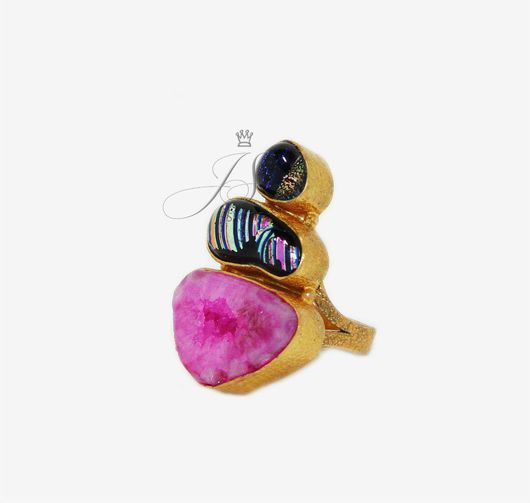 Кольца ручной работы. Ярмарка Мастеров - ручная работа. Купить Кольцо из камней Агата и Дихроичного стекла. Handmade. Натуральные камни