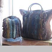 Аксессуары ручной работы. Ярмарка Мастеров - ручная работа Валяный комплект-шапка и сумка Единственный. Handmade.
