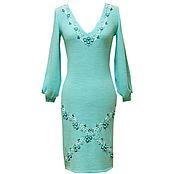 Одежда ручной работы. Ярмарка Мастеров - ручная работа Бирюзовое вязаное платье с вышивкой. Handmade.
