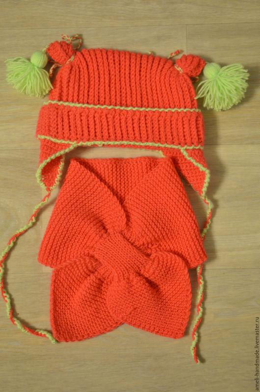 Шапки и шарфы ручной работы. Ярмарка Мастеров - ручная работа. Купить Шапка и шарф. Handmade. Коралловый, шарф вязаный