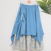 Одежда handmade. Livemaster - original item No. №216 Linen double boho skirt. Handmade.