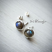 Украшения handmade. Livemaster - original item Silver stud earrings with labradorite