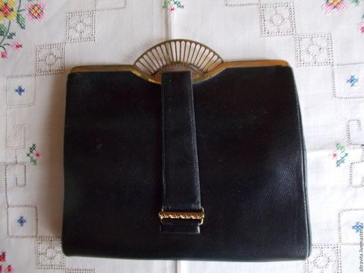 Винтажные сумки и кошельки. Ярмарка Мастеров - ручная работа. Купить Старинный  маленький черный клатч винтаж италия. Handmade. Черный