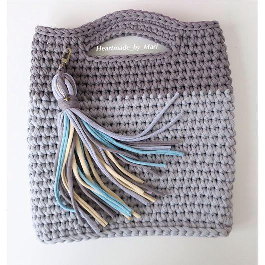 Женские сумки ручной работы. Ярмарка Мастеров - ручная работа. Купить Вязаная сумка с аппликацией. Handmade. Серый, аппликация из ткани