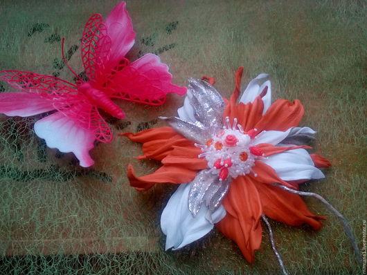 Броши ручной работы. Ярмарка Мастеров - ручная работа. Купить Брошь-цветок. Handmade. Комбинированный, кожа натуральная, кожа натуральная