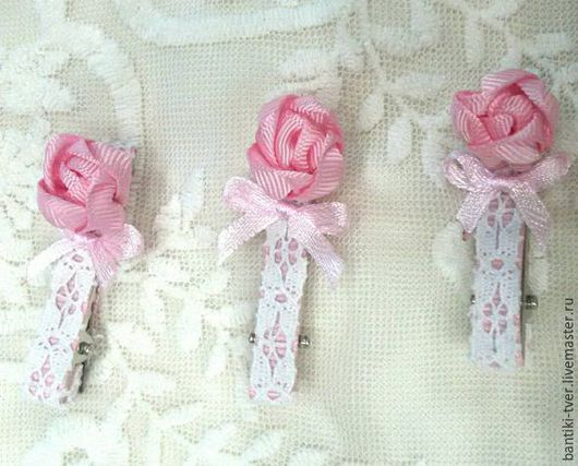 """Заколки ручной работы. Ярмарка Мастеров - ручная работа. Купить Заколка для волос """"Розочка"""" 3 шт. Handmade. Розовый цвет"""