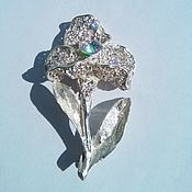 """Brooches handmade. Livemaster - original item Brooch silver """"Narcissus"""" with zircon. Handmade."""
