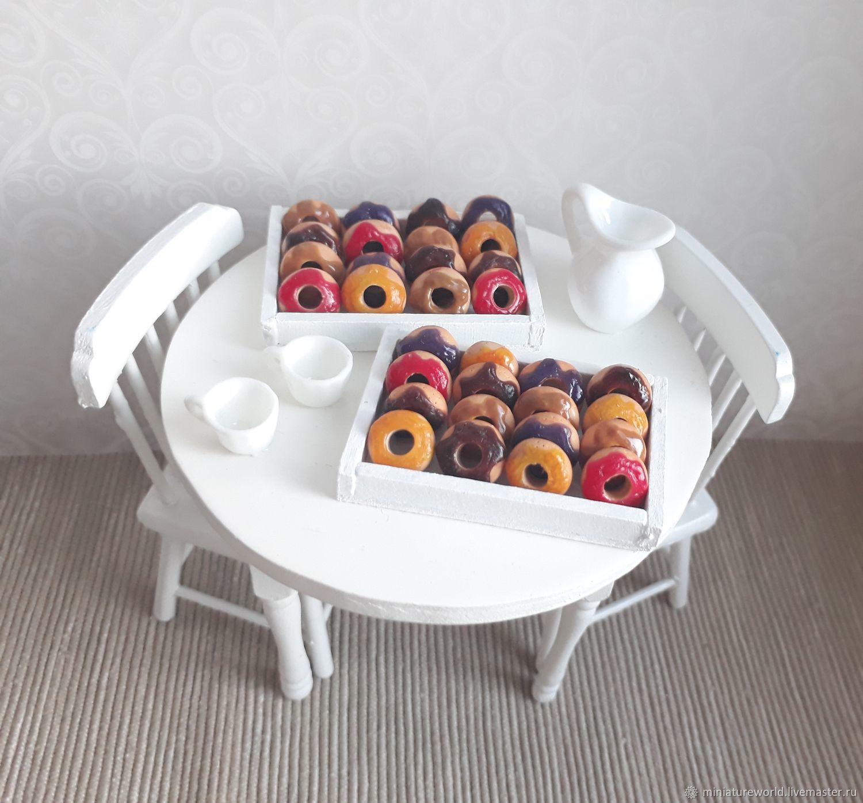 Миниатюра ручной работы. Ярмарка Мастеров - ручная работа. Купить Пончики, донаты 1:12. Handmade. Кукольный дом, миниатюрный