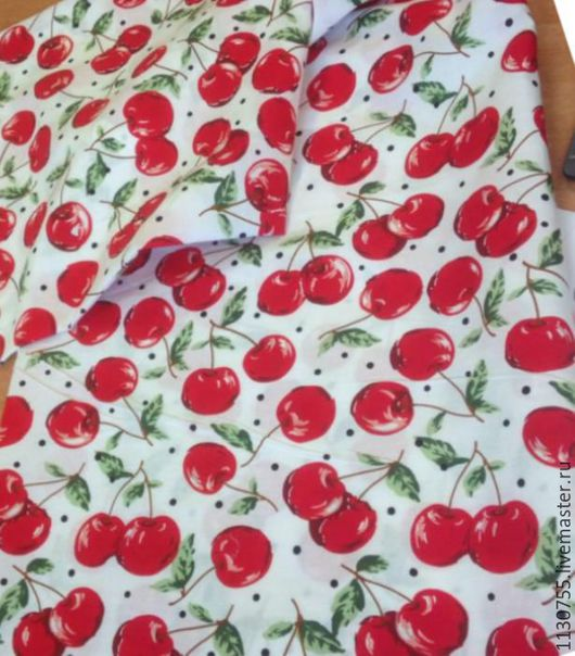 Шитье ручной работы. Ярмарка Мастеров - ручная работа. Купить Ткань хлопок поплин  вишни на белом. Handmade. Комбинированный