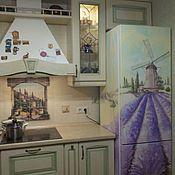 Дизайн и реклама ручной работы. Ярмарка Мастеров - ручная работа Роспись холодильника Лавандовое поле. Handmade.