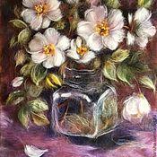 Картины и панно handmade. Livemaster - original item The picture of Dog roses wool. Handmade.