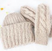 Аксессуары handmade. Livemaster - original item Knit set hat and mittens female