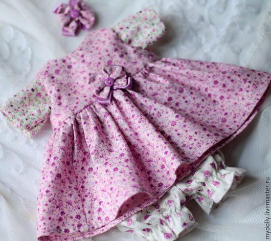 Одежда для кукол ручной работы. Ярмарка Мастеров - ручная работа. Купить Комплект одежды для куклы 32- 36 см розово- лиловый. Handmade.