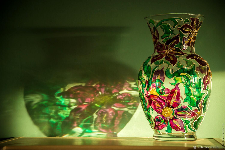 Ваза для цветов  с витражной росписью ЛИЛИИ