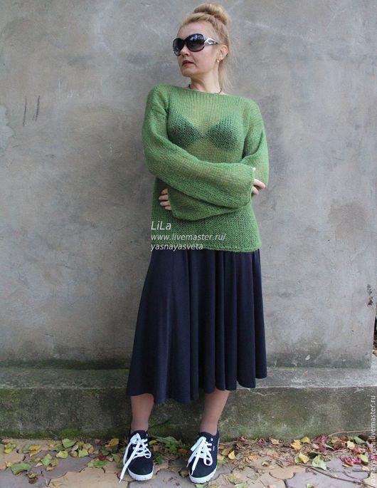 Кофты и свитера ручной работы. Ярмарка Мастеров - ручная работа. Купить Свитер женский  Apple Green из Мохера Принимаем на заказ. Handmade.