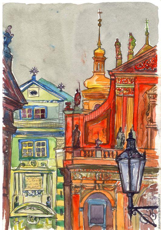 Город ручной работы. Ярмарка Мастеров - ручная работа. Купить Яркий город. Прага. Handmade. Город, городская тема, радужный