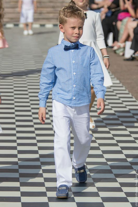 Одежда для мальчиков, ручной работы. Ярмарка Мастеров - ручная работа. Купить Синяя клетчатая рубашка и брюки. Handmade. Комбинированный, клетка