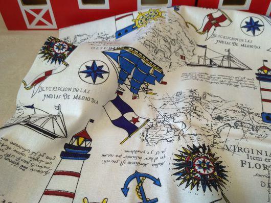 Шитье ручной работы. Ярмарка Мастеров - ручная работа. Купить Ткань льняная морская. Handmade. Комбинированный, ткань для пэчворка